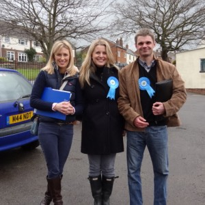 Campaigning in Daventry with Kathryn Buckle and our Candidate in braunston John Hurst
