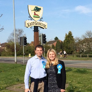 Emma and Ed Argar, PPC for Charnwood in East Goscote