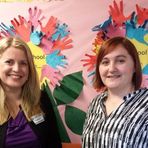 Emma at Mowmacre Hill Primary School, Tedworth Green in Leicester with the deputy head, Samantha Baxter, where she addressed the assembly.