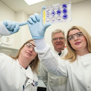 Emma's visit to Cancer Research UK at Leicester University. She is pictured with Dr Meike Vogler and Sir Edward Garnier QC MP.