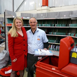 Emma's visit to the Royal Mail sorting office in Market Harborough and her postman Mark
