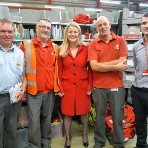 Emma's visit to the Royal Mail sorting office in Market Harborough