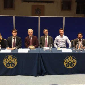 Emma on the panel at a Q and A session at Leicester Grammar School.