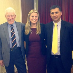 Emma with Norman Pratt and  Leon Hadjinikolaou at a CPF event in Charnwood.