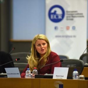 Emma hositng a conference on illicit wildlife trade