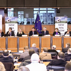 Emma hosting a conference on New Fifa Now in the European Parliament