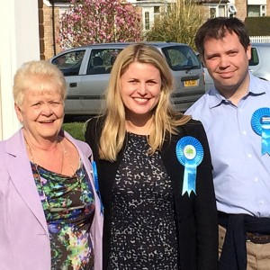 Emma with Ed Argar, PPC for Charnwood and Borough Council candidate Sue Gerrard in East Goscote.