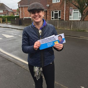 Emma campaigning in the rain in Sherwood for Mark Spencer MP