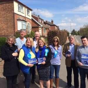 Emma and her team out campaigning in Burton Joyce with Carolyn Abbott, PPC for Gedling