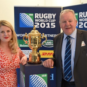 Emma with Bill Beaumont Chairman of World Rugby and the Ellis Cup