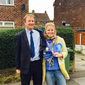 Emma campaigning with Nigel Mills in Amber Valley