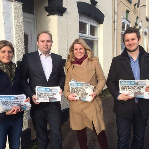 Emma campaigning with Cllr David Mackintosh, Leader of Northampton Borough Council and PPC for Northampton South.