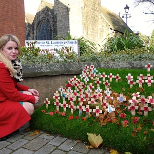 At the War memorial, outside St Lawrence's Church, Long Eaton