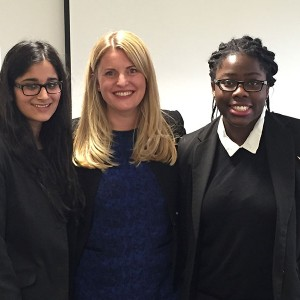 Emma with students of Loughborough School on International Women's Day