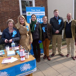 Emma campaigning on a street stall in Retford