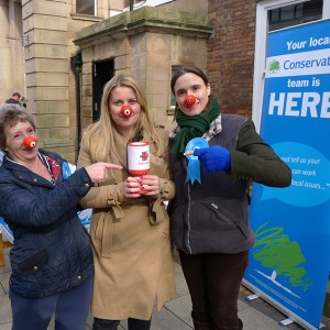 Emma  supporting Comic Relief with Cllr Annette Simpson and Sarah Downes, PPC for Bassetlaw 2015