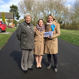 Emma campaigning in Desford with Cllr Ruth Camamile and Miriam Surtees