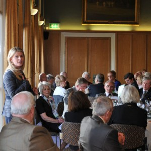 Emma speaking at Trent Bridge