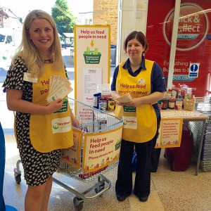 Emma with Lisa, Team Leader at Tesco Market Harborough helping out with their Food Collection Initiative.