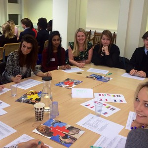 Emma in Northamptonshire with students taking part in Democracy week