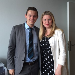 Emma with intern James Matthews, a University of Leicester student in Strasbourg