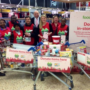 Emma with volunteers from the Elim Christian Centre & The Trussell Trust at Emma's visit to Tesco Northampton South as part of their Neighbourhood Food Collection initiative.
