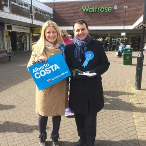 Emma campaigning in Blaby yesterday with Alberto Costa, Conservative Parliamentary candidate for South Leicestershire