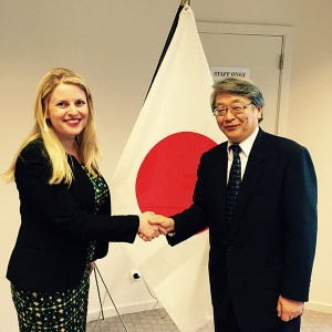 Emma with the Japanese Ambassador at the opening of the new Mission of Japan office
