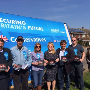 Emma and her team out campaigning with Andrew Bridgen in North-West Leicestershire