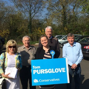 Emma out campaigning for Tom Pursglove and the team in Corby